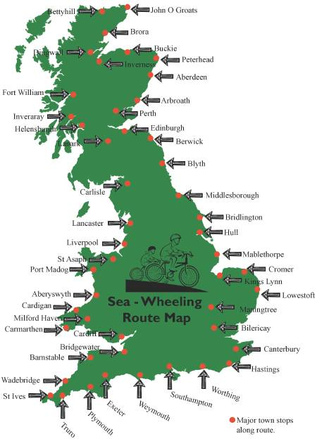 map of places to be visited on Sea-Wheeling bike ride