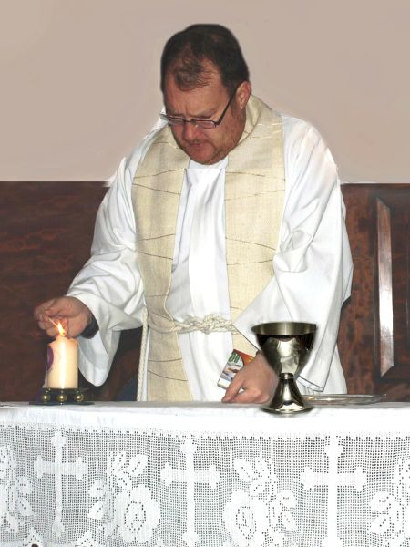 photo of Reverend Christopher Humble with his Papal chalice