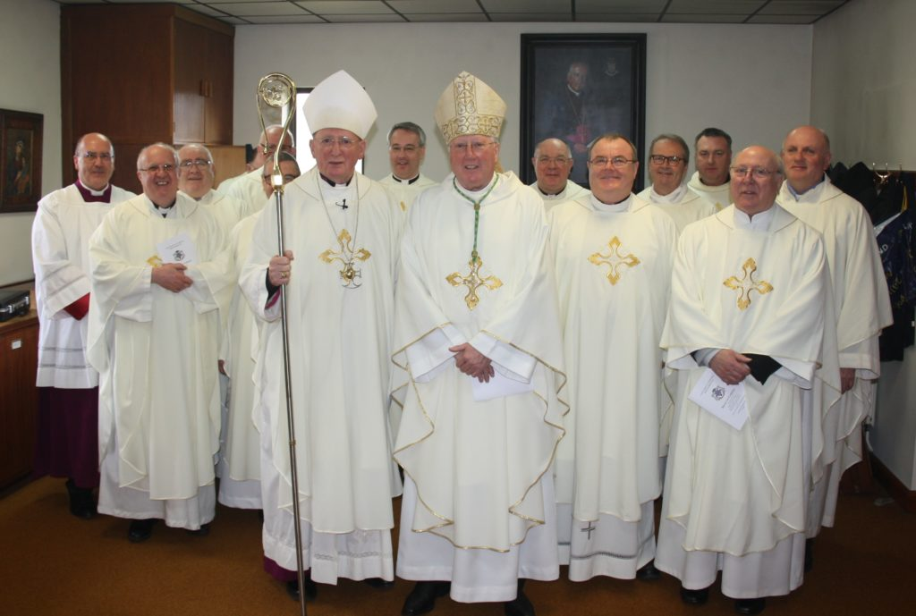 Bishop Thomas, Bishop Terry and priests at the Mass of Chrism