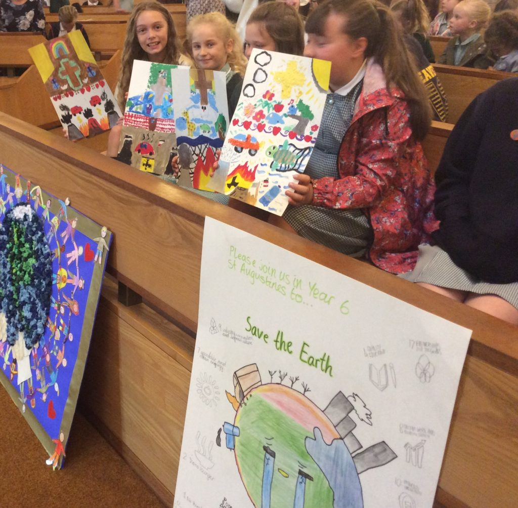 St Augustine's children with their Creation Time artwork