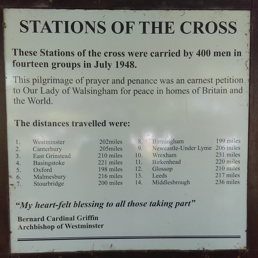 The plaque on the 14th station at Walsingham