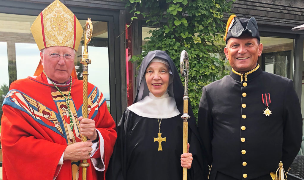 Bishop Terry, Dame Anna and Jonathan Deacon, advisor and friend to the community and a papal Knight of Sylvester