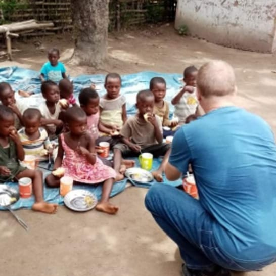 Francis Hannaway with children at the malnutrition centre in the Democratic Republic of Congo