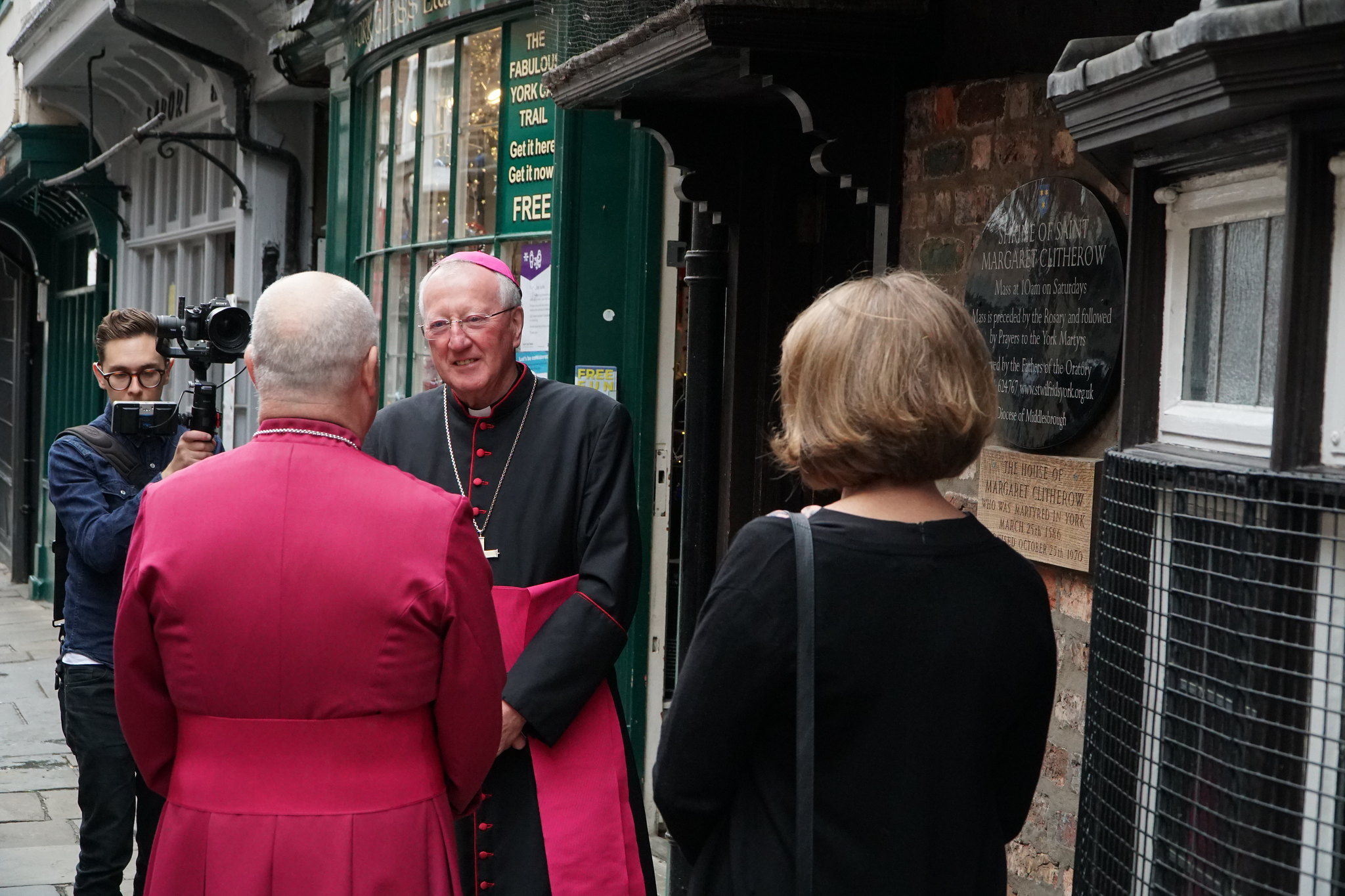 Bishop Terry welcomes newly elected 98th Archbishop of York Stephen Cottrell to pray alongside him in the shrine of St Margaret Clitherow – Picture by Duncan Lomax, Ravage Productions