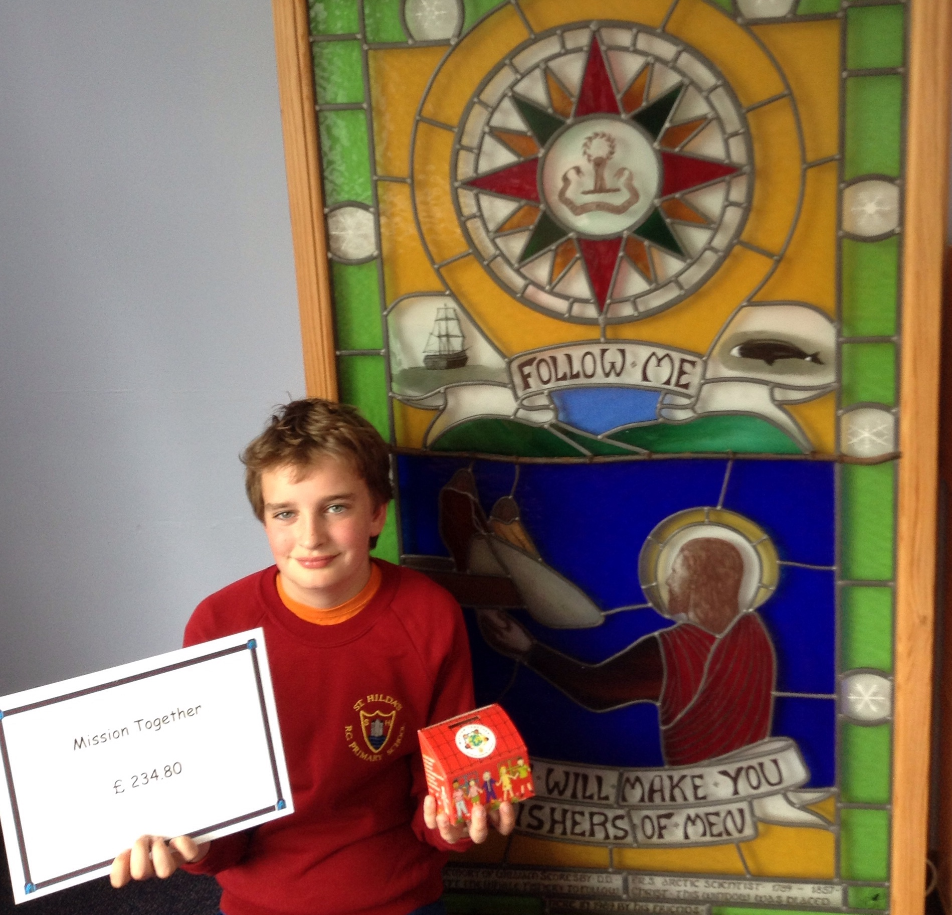 A Year 6 pupil at St Hilda's Roman Catholic Primary School in Whitby has stunned the organisers of this year's Mission Together appeal by single-handedly raising more than £200 for less fortunate children.