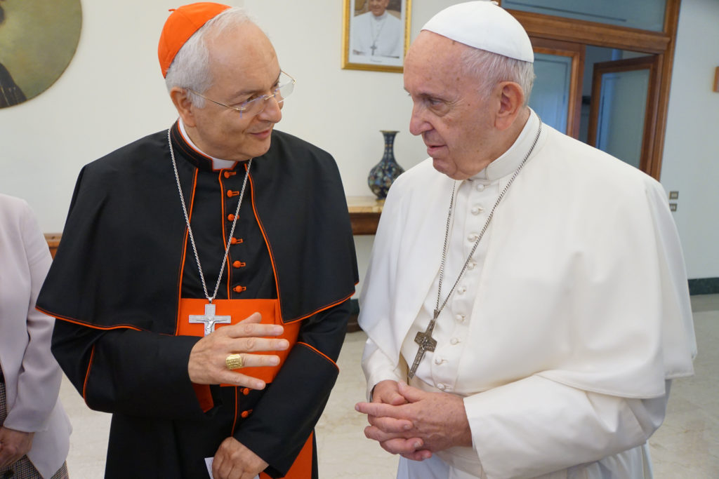 Pope Francis with Aid to the Church in Need international president Cardinal Mauro Piacenza