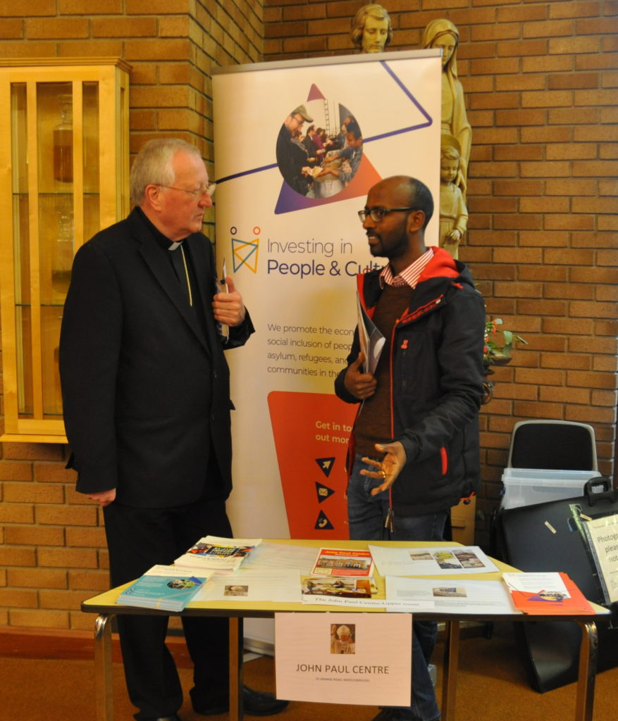Bishop Terry with community activist Bini Araia at the World Day of the Poor event organised by Caritas Middlesbrough in 2019 – Photo by Johan Bergström-Allen