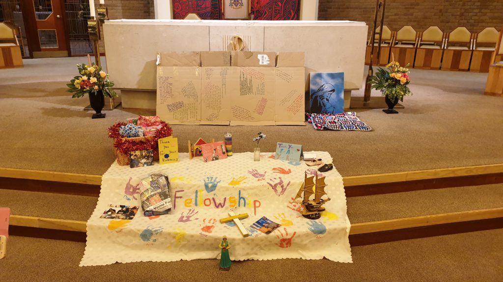 A display on the altar at the World Day of the Poor event organised by Caritas Middlesbrough in 2019 – Photo by Johan Bergström-Allen