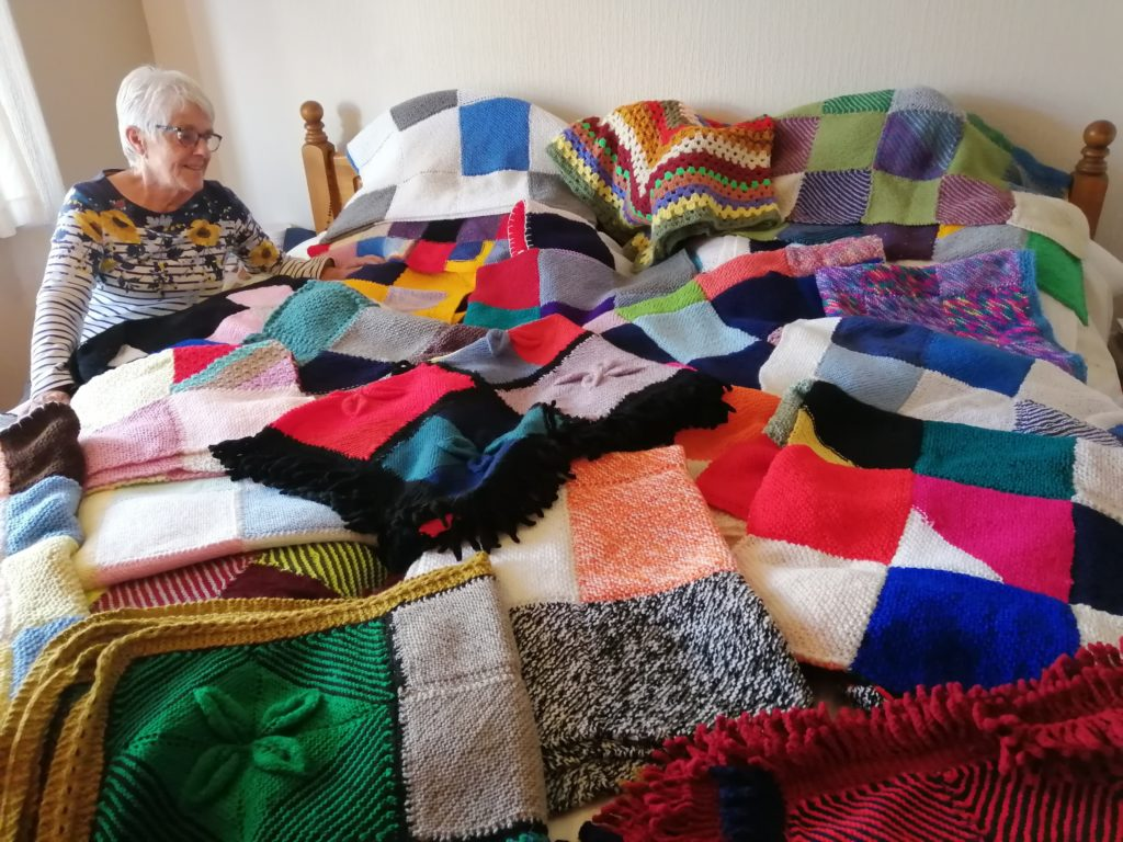 Anne Lawrence, one of the St Aelred's knitters