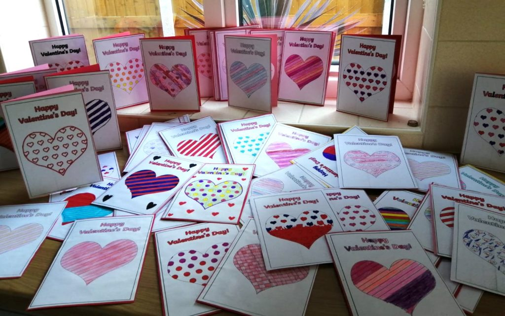 A selection of fabulous Valentine Cards designed and created by the Minnie Vinnies at St Aelred's Primary School, York