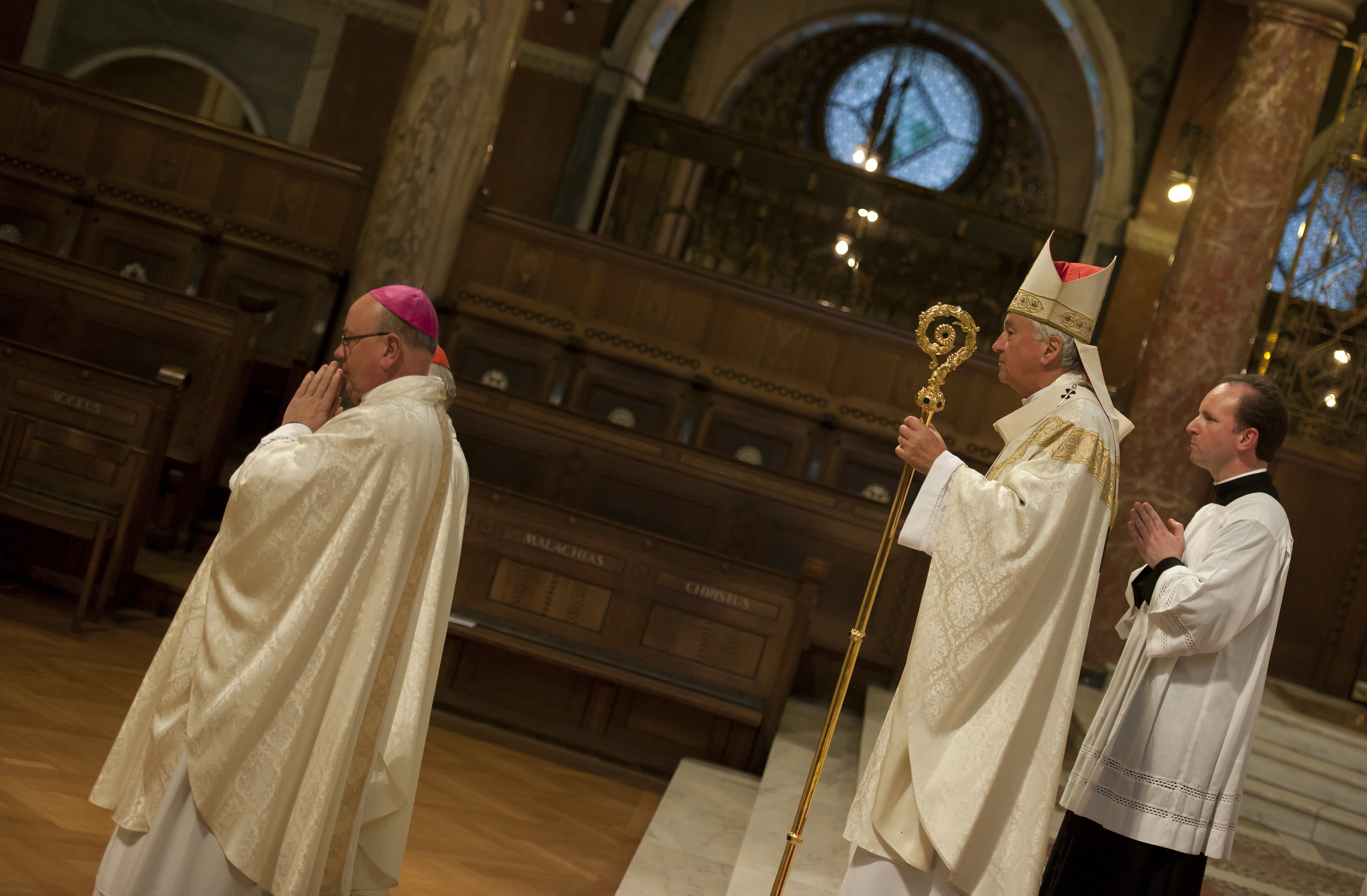 Archbishop Malcolm McMahon (left) with Cardinal Vincent Nichols – © Mazur/catholicchurch.org.uk